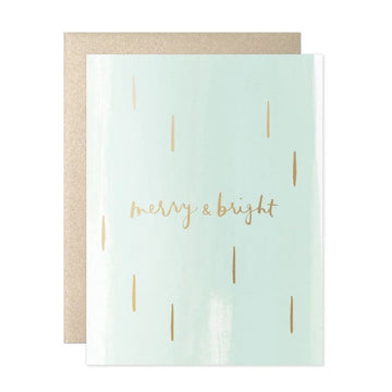 merry and bright mint greeting card