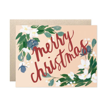 floral merry christmas greeting card