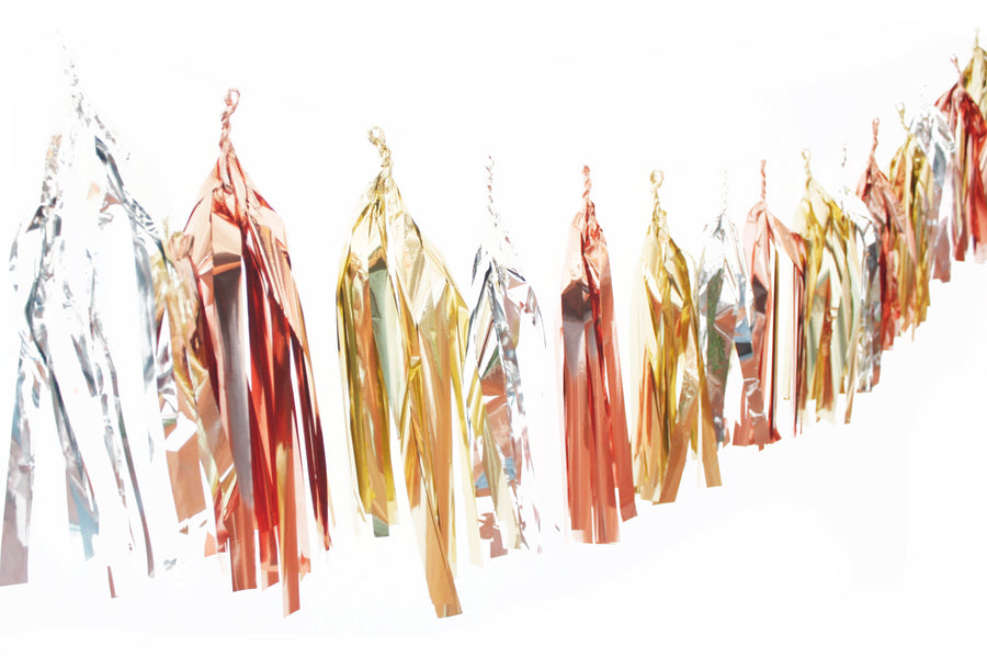 Tassel Garland - Mixed Metallics Gold Silver Rose Gold