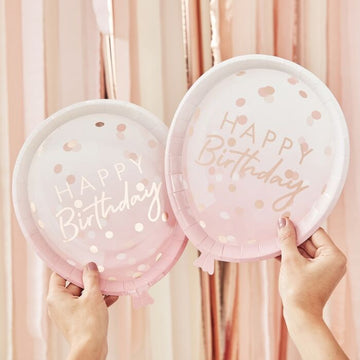 Rose Gold Balloon Birthday Plates