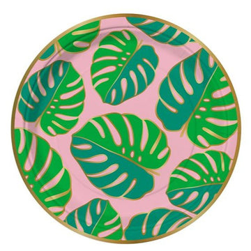 pink and green monstera leaf paper plates