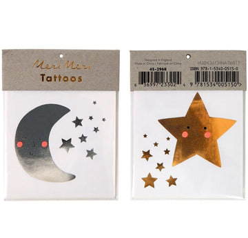 silver moon gold star temporary tattoos