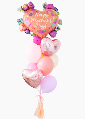 Mother's Day Coral Heart Balloongram