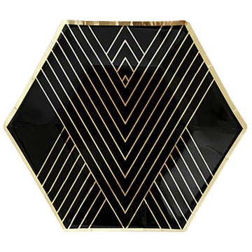 noir black and gold paper plate