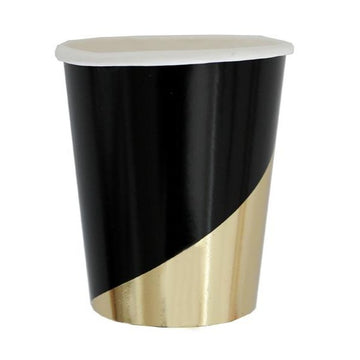black and gold paper cup