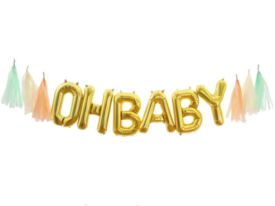 OH BABY Gold Balloon Banner Kit