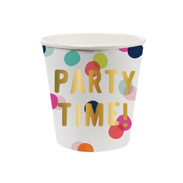 polka dot party time paper cups