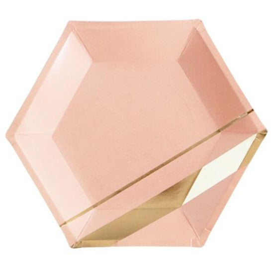 peach pink and gold paper plate