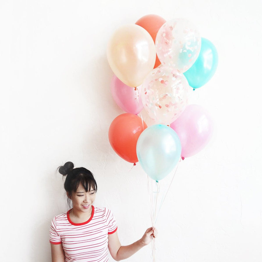 Peachy Mint Confetti Balloon Bundle