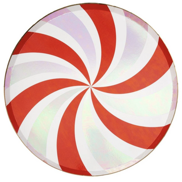 red and white peppermint swirl paper plates