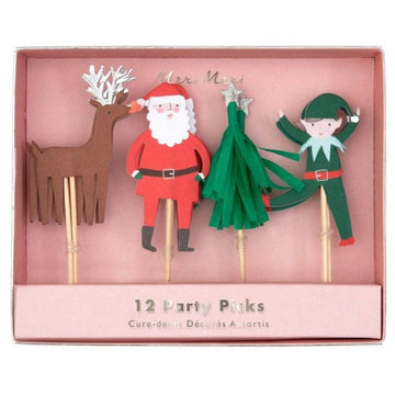 reindeer santa christmas tree elf holiday party food picks