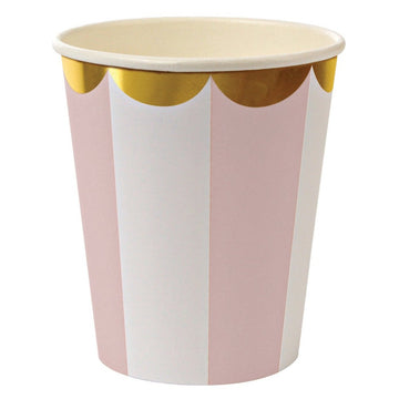 pink and white striped paper cups with gold scalloped edge
