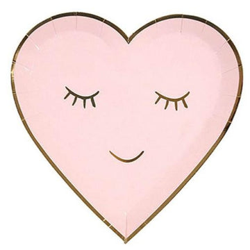 pink heart face paper plate