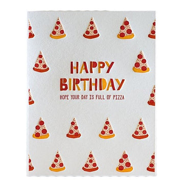 letterpress happy birthday pizza greeting card