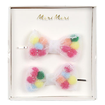 rainbow pom pom net bow hair clip slides