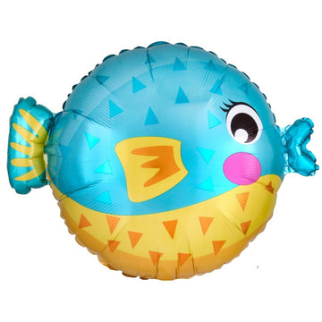 blue orange puffer fish balloon