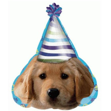 puppy with party hat balloon