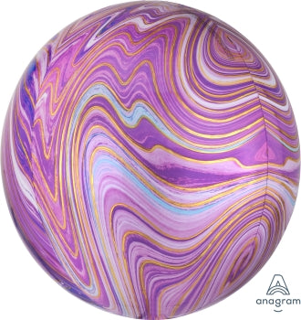 purple lavender gold blue white marble orb balloon