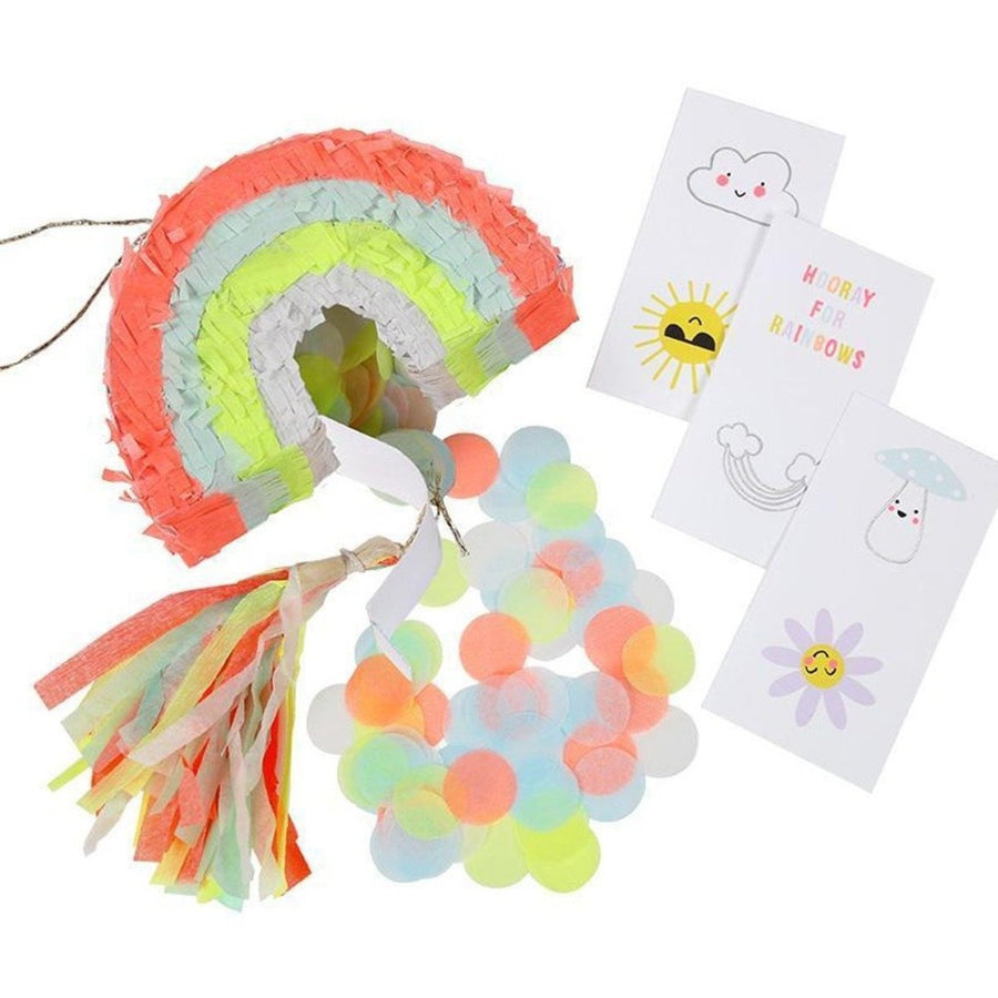 rainbow mini pinata confetti temporary tattoos
