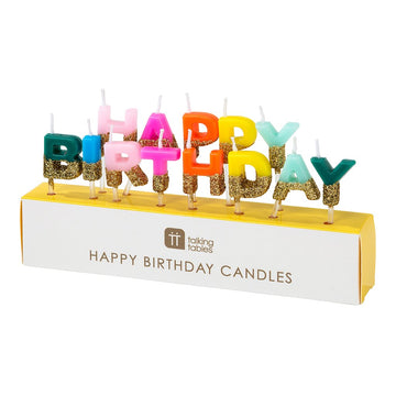 rainbow letter happy birthday glitter candles