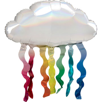 iridescent cloud balloon with rainbow squiggles