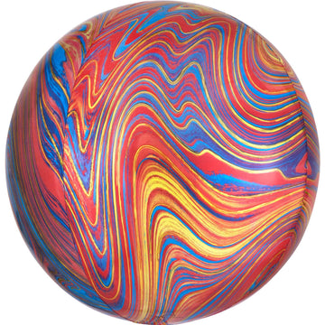 red blue gold marble orb balloon