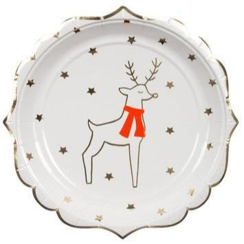 white and gold reindeer plate