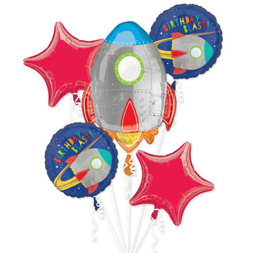 rocket spaceship red star birthday blast balloon bundle
