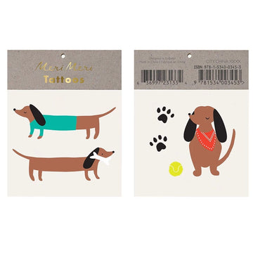 sausage dog dachshund temporary tattoos