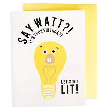 say watt lightbulb birthday card