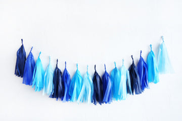 Gradient Blue Tassel Garland
