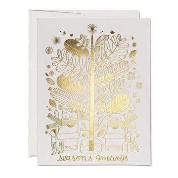 cat holiday card in gold foil, season's greetings