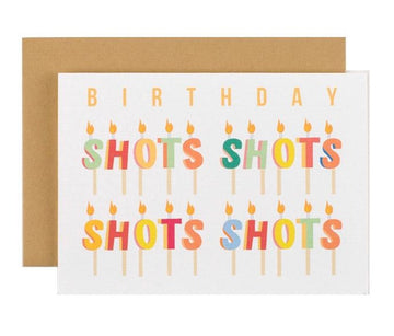shots candle birthday greeting card