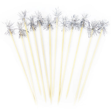 Silver Tinsel Cocktail Stirrer - Set of 12 / Swizzle Stick / Cupcake Topper