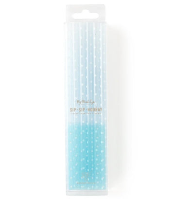 blue reusable color changing straws