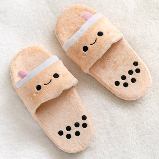 boba milk tea plush slide slippers