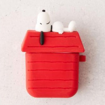 snoopy red house silicone airpod case