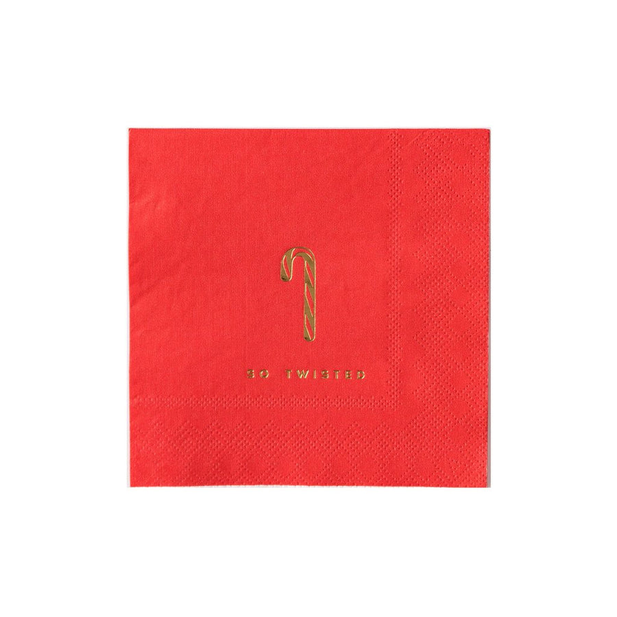 so twisted gold candy cane red napkin