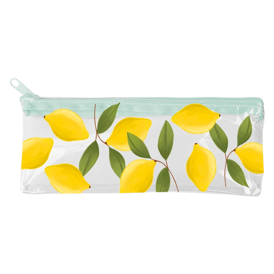 lemon pattern clear vinyl zipper pouch