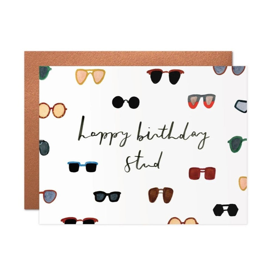 sunglasses happy birthday stud greeting card