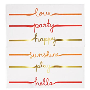 love party happy sunshine play hello text temporary tattoos