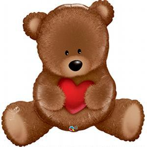 heart holding brown teddy bear balloon