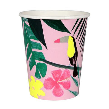 pink tropical toucan paper cups