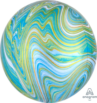 turquoise blue green gold white marble swirl orb balloon