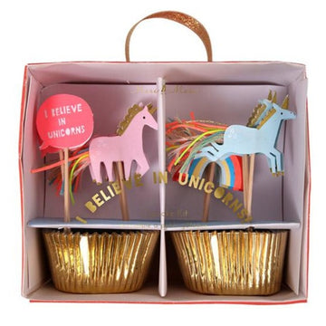 rainbow unicorn gold cupcake decoration set