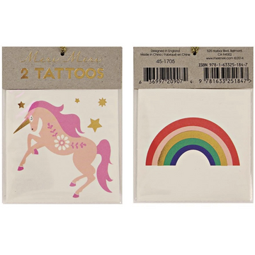 unicorn rainbow temporary tattoos