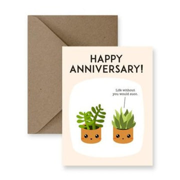 anniversary succulent greeting card