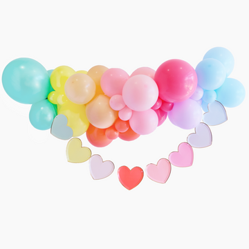 Rainbow Hearts Balloon Garland To-Go