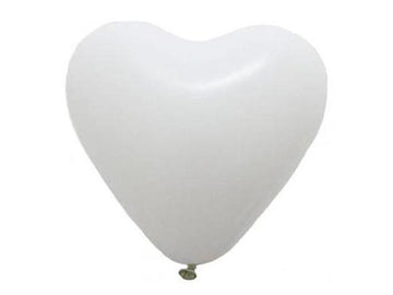 3' White Heart Latex Balloon
