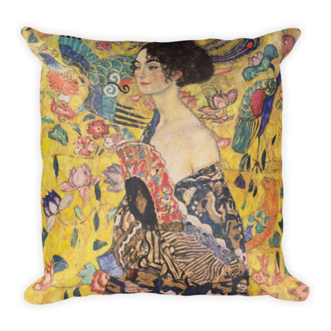 Lady with Fan - Klimt Gustav Pillow